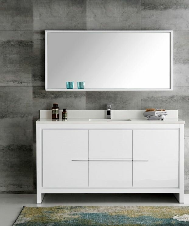 "fresca trieste 60"" allier single modern sink bathroom vanity set"