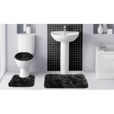 fluff 3 piece bath rug set - 3 Piece Bathroom Rug Sets