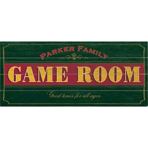 Personalized Game Room Textual Art Multi-Piece Image on Wood