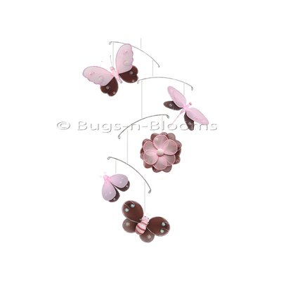 Butterfly Dragonfly Ladybug Nylon Flower Bee Mobile Bugs-n-Blooms Color: Brown/Pink