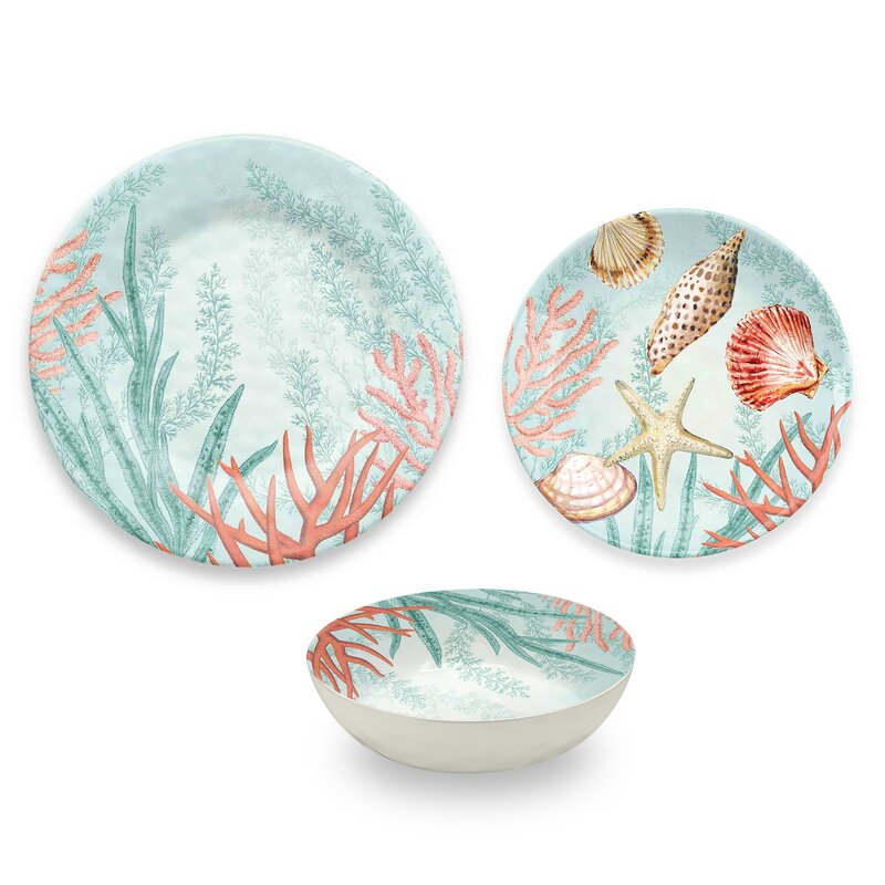 Francisco Coral Reef 12 Piece Melamine Dinnerware Set Service for 4  sc 1 st  Wayfair & Highland Dunes Francisco Coral Reef 12 Piece Melamine Dinnerware Set ...