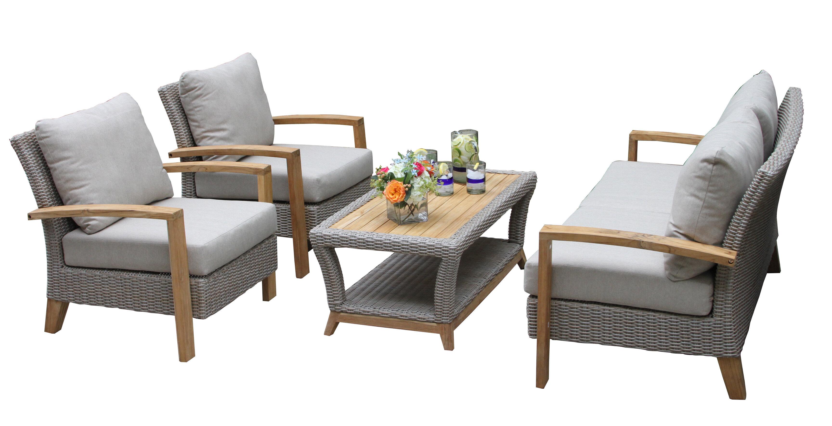 Dillard 4 Piece Rattan Sofa Seating Group With Cushions Reviews
