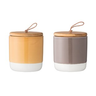 Round Stoneware Storage Jar (Set Of 2)