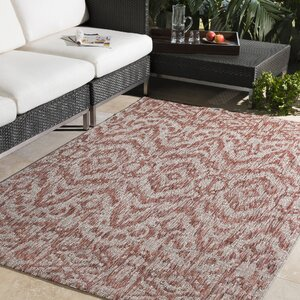 Fonwhary Burnt Orange Indoor/Outdoor Area Rug