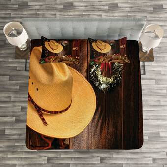 f17491bf46cb9 Ambesonne Western Wild West Themed Cowboy Hat and Old Ranching Rope ...