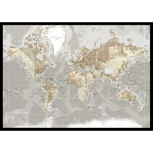 Maps canvas wall art wayfair world map graphic art on canvas in beige gumiabroncs Choice Image