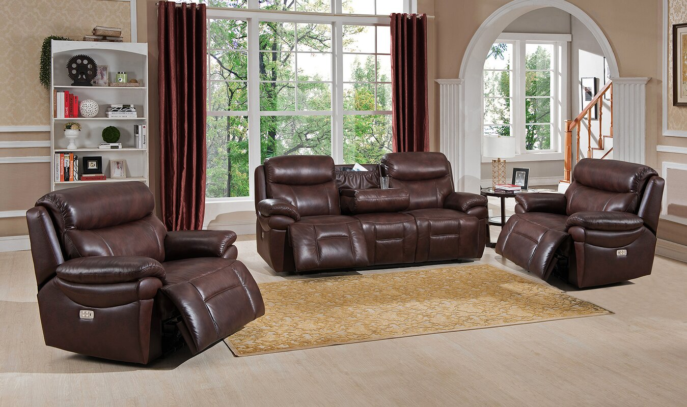 Amax Sanford 3 Piece Leather Living Room Set & Reviews | Wayfair