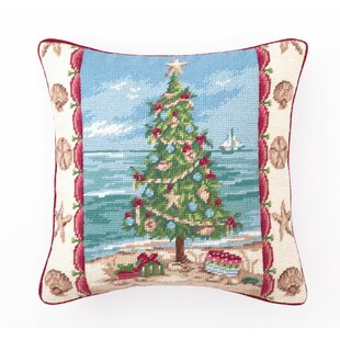 beach christmas i needlepoint throw pillow
