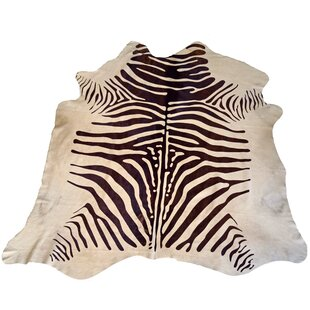 Designer Cowhides Printed Zebra Brown White Area Rug