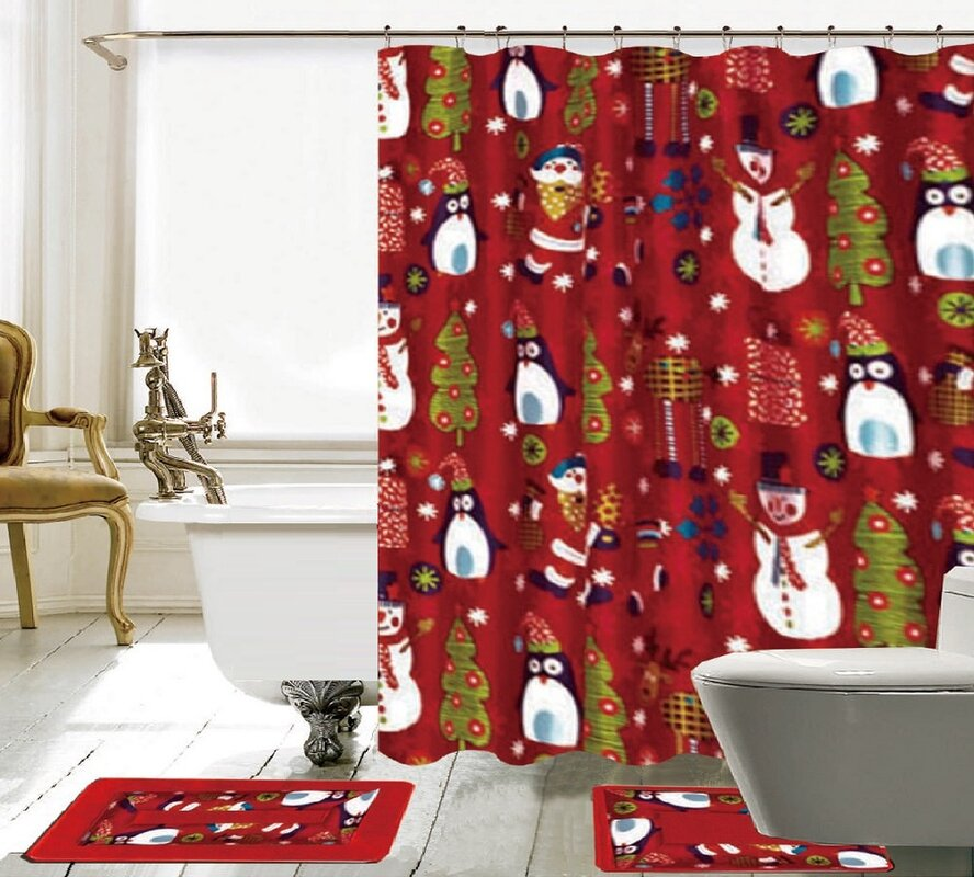 maroon shower curtain set. 15 Piece Christmas Shower Curtain Set The Holiday Aisle  Reviews