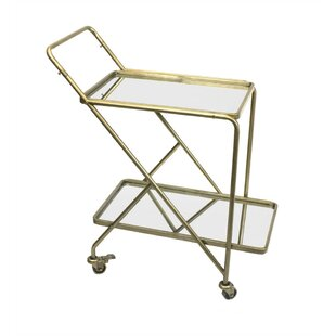Piso Stylish Mirrored Bar Cart