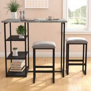 Merveilleux Denham 3 Piece Grey Pub Table Set