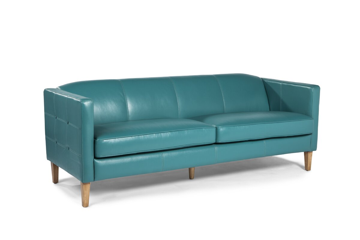 Aqua Leather Sofa Twin Palms Koko Lexington