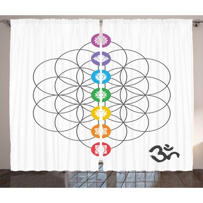 Cowhill Sacred Geometry Chakra Points in Vintage Concentric Rings of  Partial Circle Zen Image Graphic Print & Text Semi-Sheer Rod Pocket Curtain