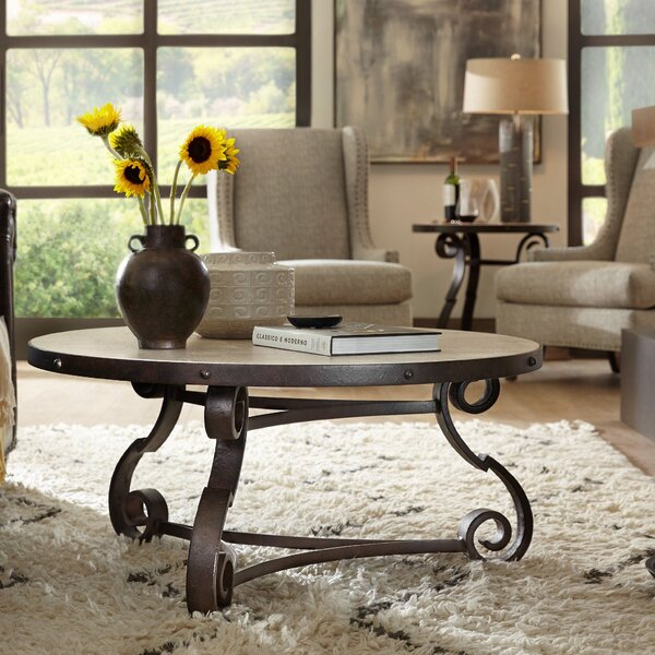Hill Country Luckenbach Round Coffee Table With Magazine Rack