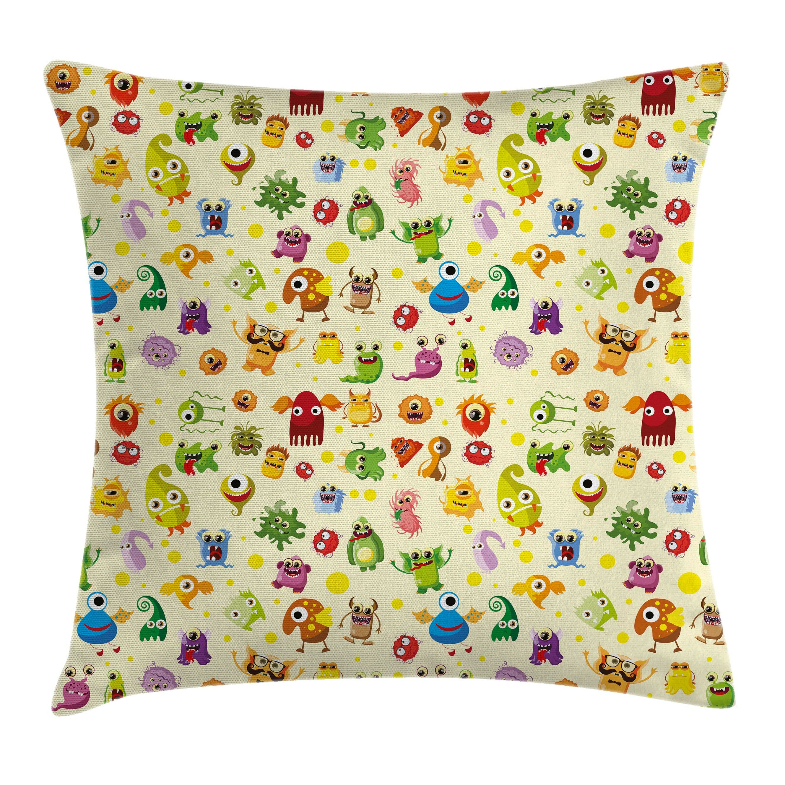East Urban Home Cute Cartoon Monsters Square Pillow Cover
