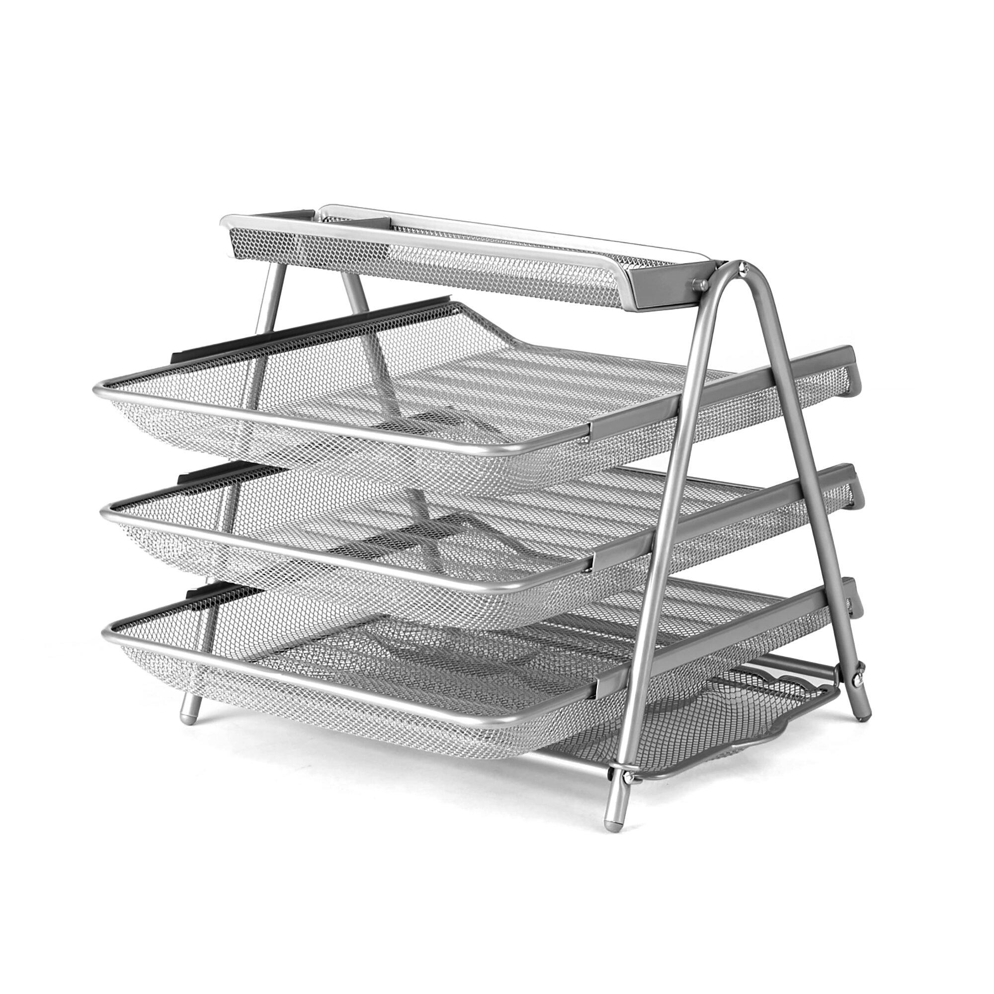 Mind Reader Metal Mesh 3 Tier File Organizer | Wayfair