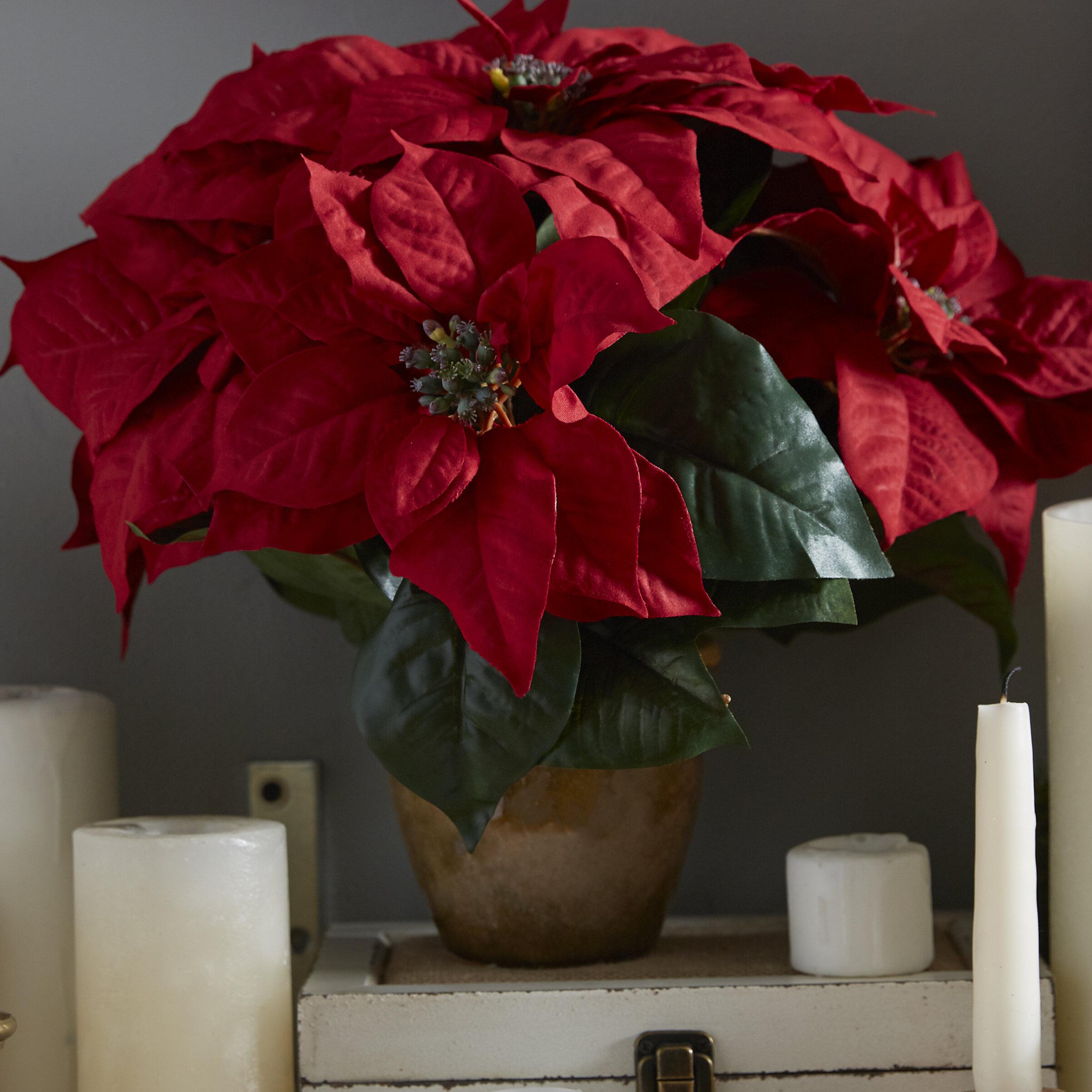 Three Posts Poinsettia Wceramic Vase Silk Floral Arrangement