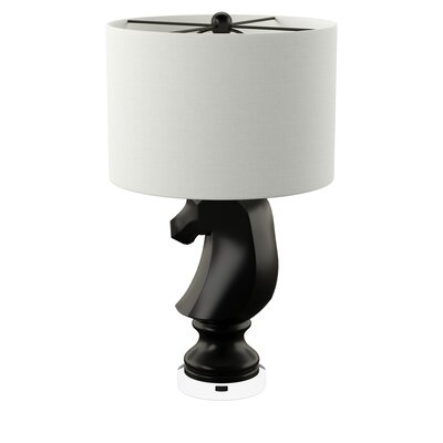 Trule Teen Heckson 28 Table Lamp Base Color: Gloss Black, Shade Color: White, Bulb: Not Included (1 x 150W Medium Base)