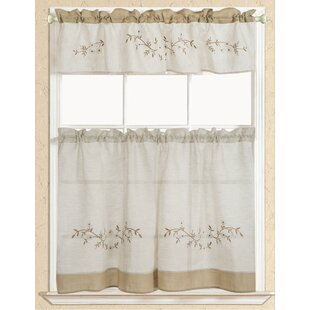 Attrayant Rustic Embroidered Kitchen Curtain