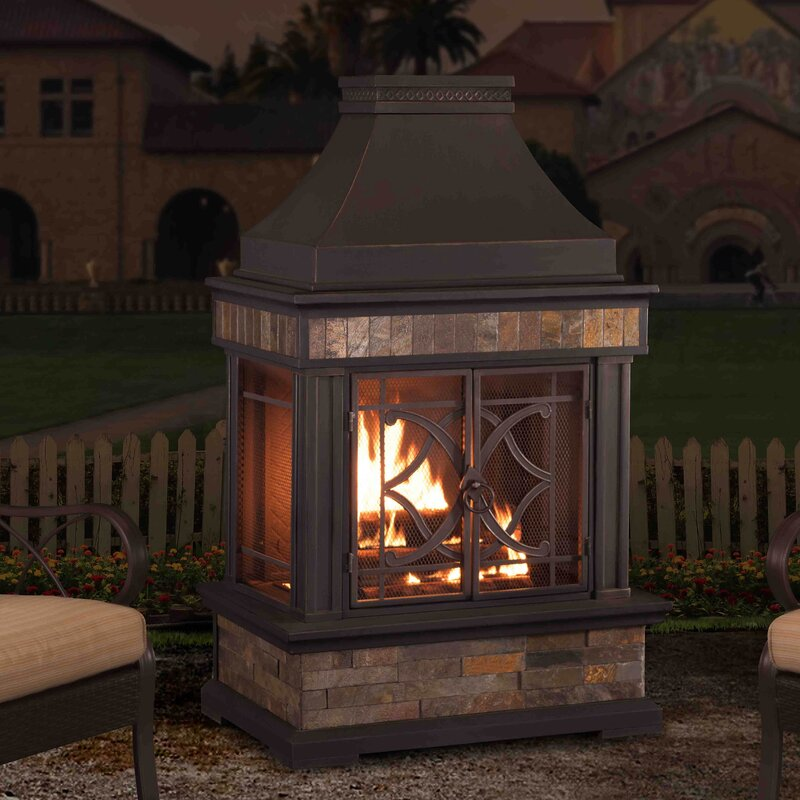 Sunjoy Heirloom Steel Wood Burning Outdoor Fireplace Reviews Wayfair