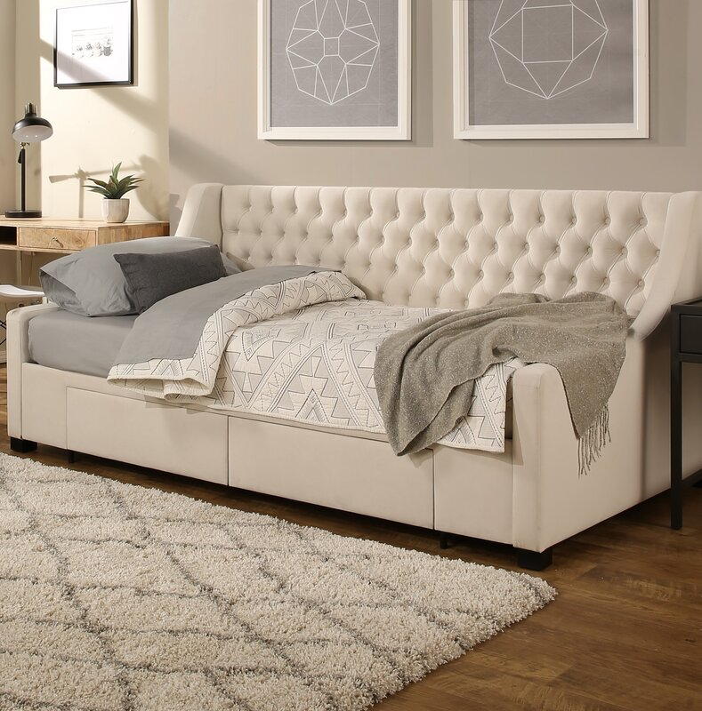 darby home co aron twin upholstery storage daybed reviews wayfair. Black Bedroom Furniture Sets. Home Design Ideas