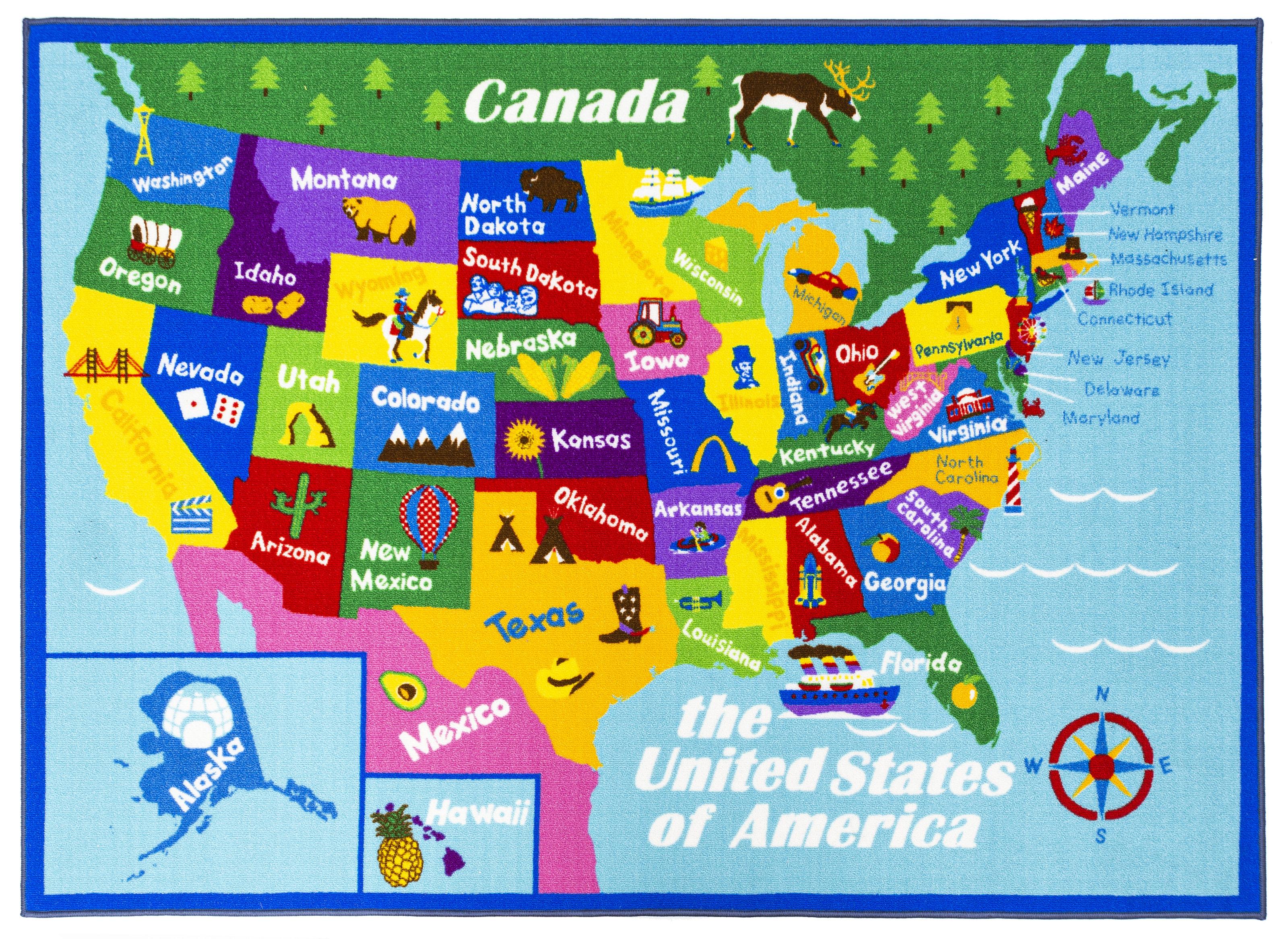 Map Of Georgia For Kids.Swanigan Educational Usa States Map Princess World Reversible Fun Kids Green Area Rug