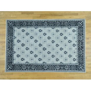 Price Check One-of-a-Kind Bearer Cropped Thin Hand-Knotted 10' x 14' Wool Blue/White Area Rug By Isabelline