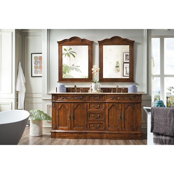Quiroga 72 Double Cherry Travertine Top Bathroom Vanity Set