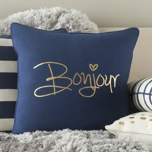 Carnell Bonjour Cotton Throw Pillow Cover