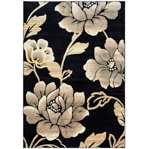 Culver Floral Geometric Black Area Rug
