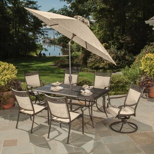 doucette cast aluminum and sling 9 piece dining set - Cast Aluminum Patio Furniture