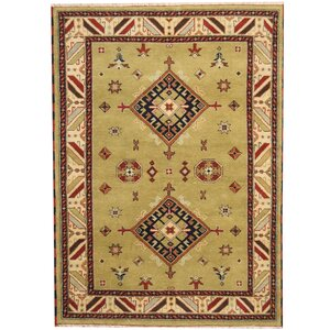 Kazak Hand-Knotted Green/Ivory Area Rug