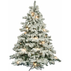 flocked alaskan 65 white artificial christmas tree with 600 clear lights with stand - White Fake Christmas Trees