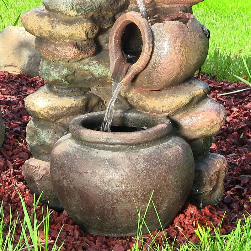 Fiberglass Honey Pot With Stones Electric Water Fountain With Light