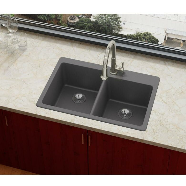 elkay quartz luxe 33 l x 22 w double basin top mount kitchen sink rh wayfair com kitchen sink top mount vs undermount granite kitchen sinks top mount