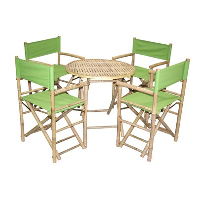 5 Piece Dining Set Bamboo54 Color: Green