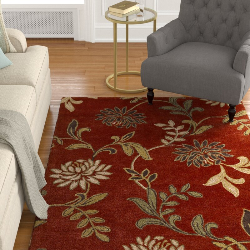Alcott Hill Adkisson Red Floral Area Rug, Size: Rectangle 8 x 10