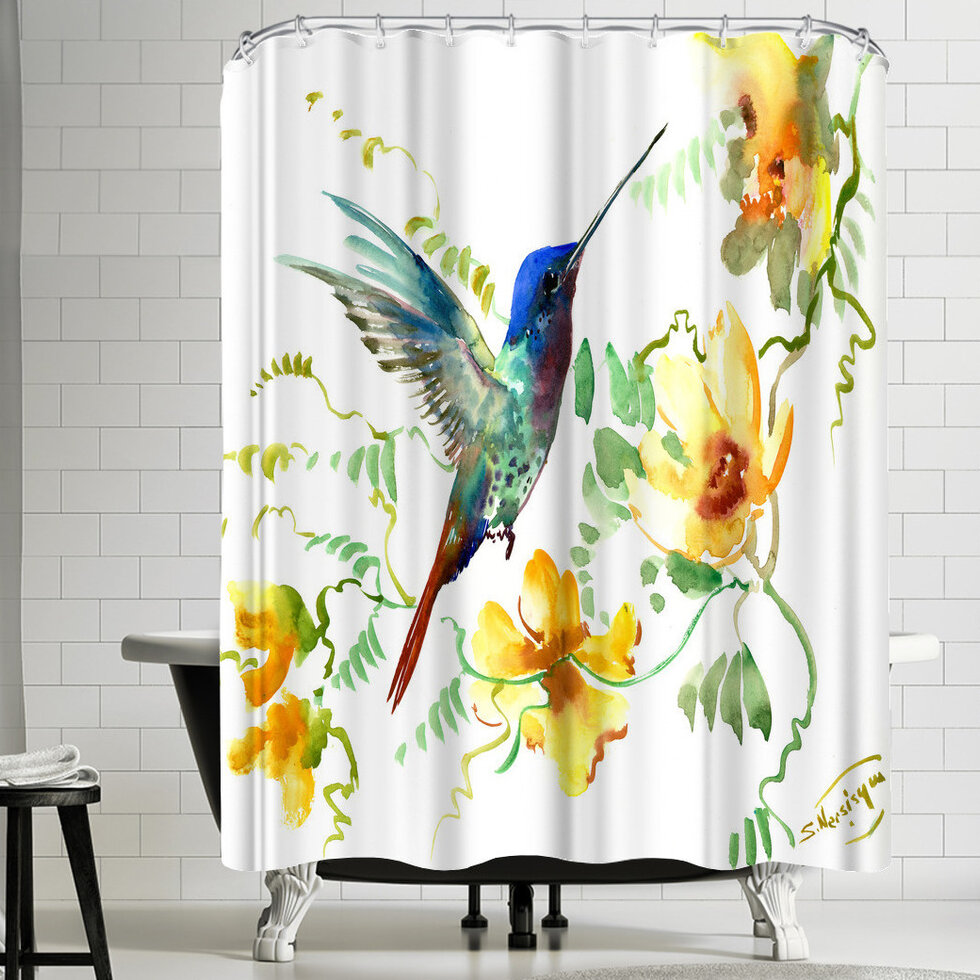 East Urban Home Suren Nersisyan Hummingbird 2 Shower Curtain U0026 Reviews |  Wayfair