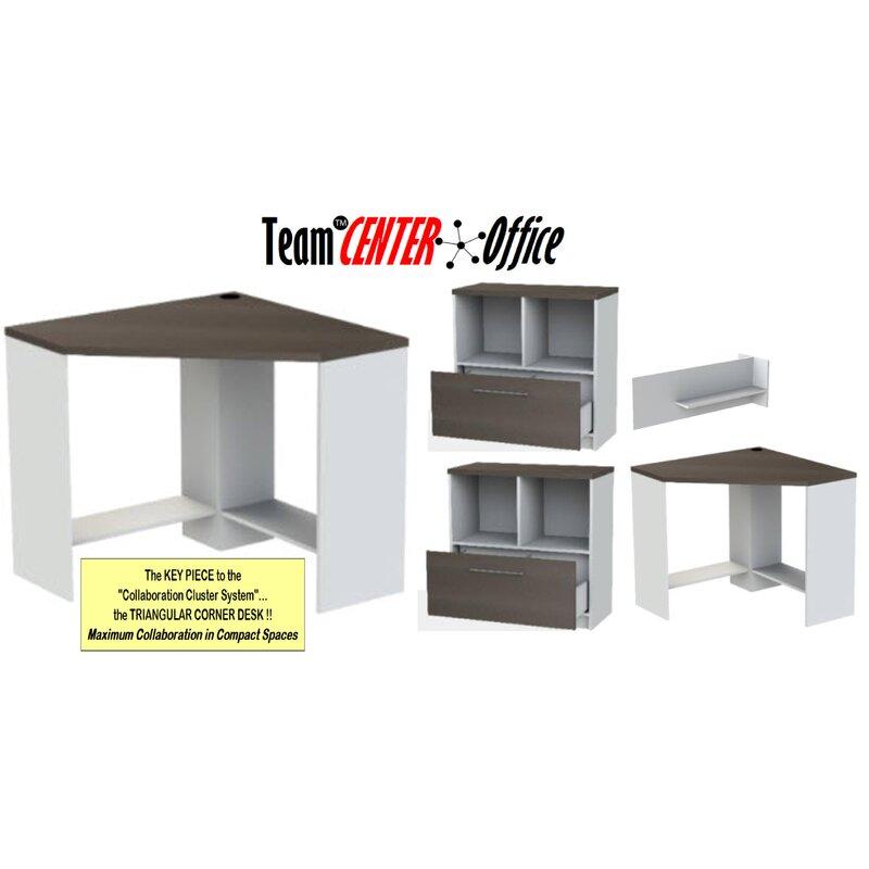 Triangular Corner 5 Piece L Shaped Desk Office Suite