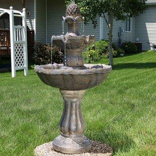 Merveilleux Dunne Fiberglass Solar 2 Tier Pineapple Water Fountain With Light