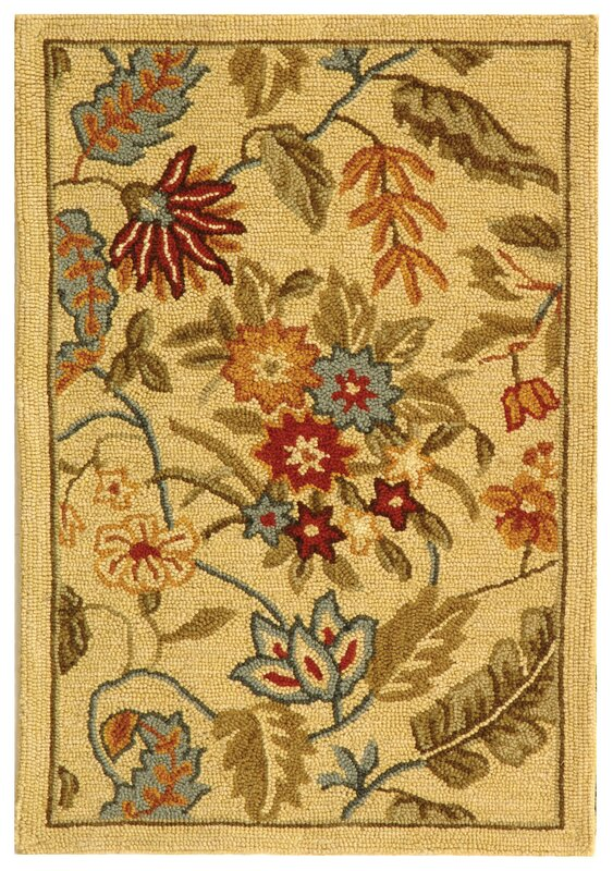 Helena Missy Floral Hand Hooked Wool Ivory/Red Area Rug
