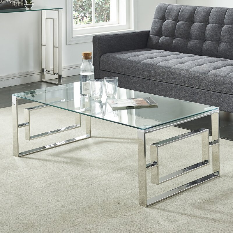 Elegant Menzel Stainless Steel Coffee Table Sets