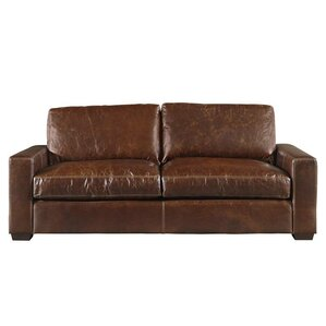 Dansville Two Seat Full Top Grain Leather Sofa by Latitude Run