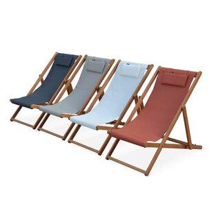 Graydon Reclining Folding Deck Chair with Cushion (Set of 2) by Lynton Garden