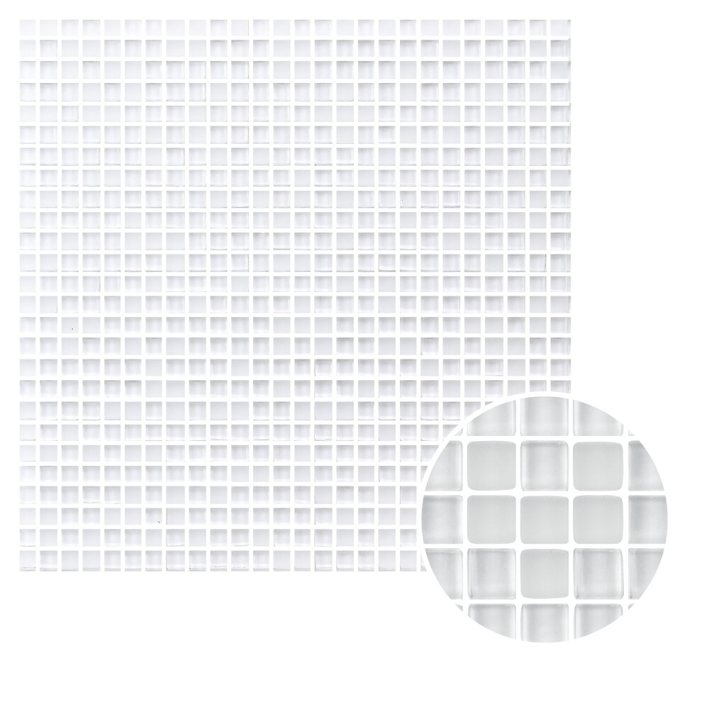 Madrid Ceramics Micron 0 38 X Gl Mosaic Tile In Ice White Wayfair