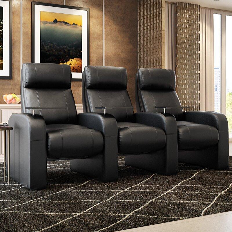 Modern Manual Rocker Recline Home Theater Sofa (Row Of 3)