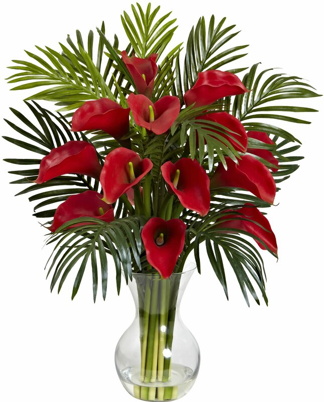 stylist lily house plant. Calla Lily and Areca Palm Silk Flower Arrangement with Vase Nearly Natural