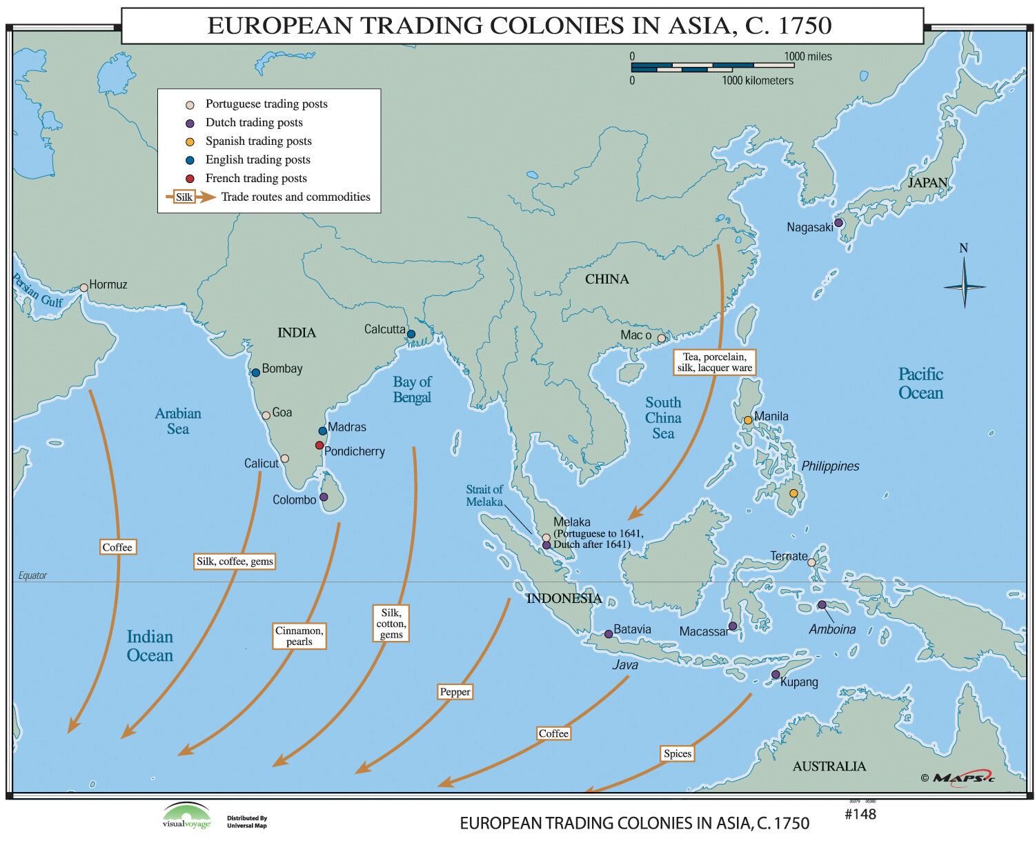 Universal Map World History Wall Maps European Trading Colonies In