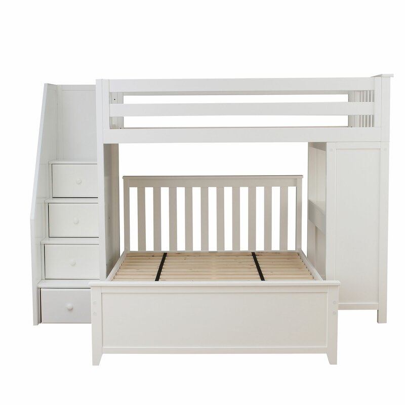 cfbdeeacb900 Zoomie Kids Alvarez Staircase Combo Twin over Full L-Shaped Bunk Bed ...